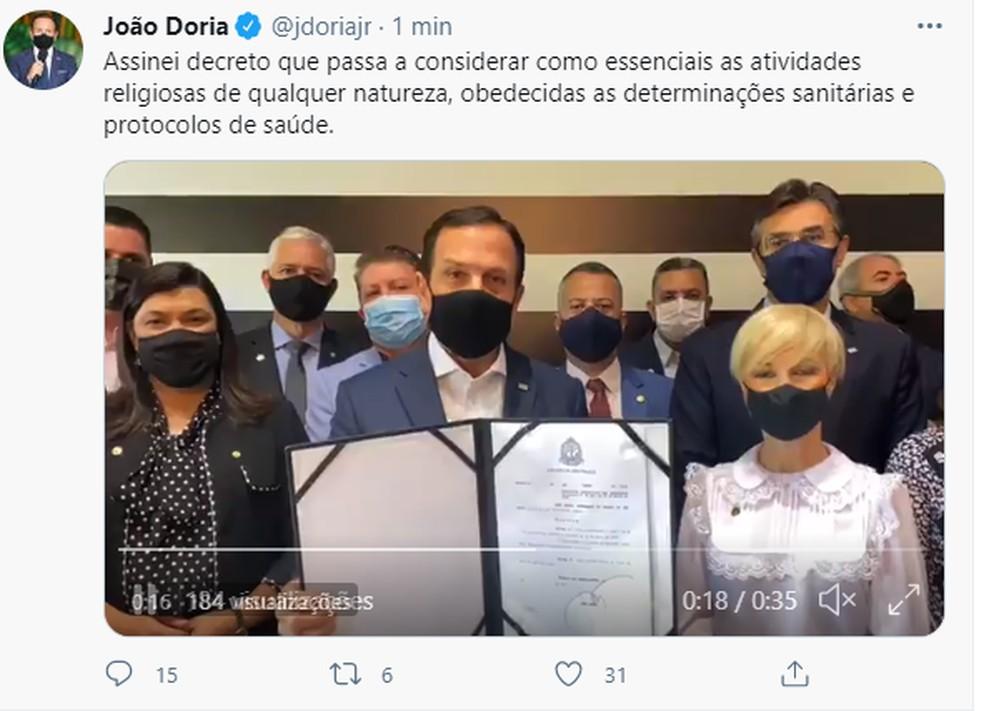 Doria diz nas redes sociais que assinou um decreto reconhecendo atividades religiosas como serviço essencial  — Foto: Reprodução/Twitter
