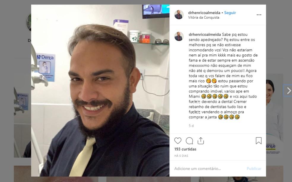 Paulo Henrico Almeida é investigado pelo crime de exercício ilegal da profissão de dentista em Itabuna e em Vitória da Conquista — Foto: Reprodução/Redes Sociais