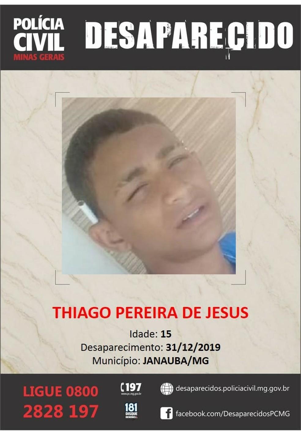 Thiago Pereira de Jesus estava desaparecido desde o dia 31 de dezembro — Foto: Divulgação