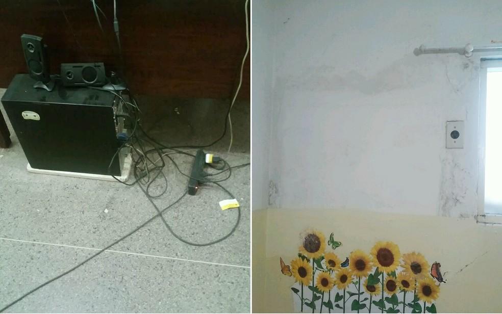 Fiação exposta e umidade na parede da farmácia municipal em Monte Azul Paulista, SP (Foto: TCE-SP/Divulgação)