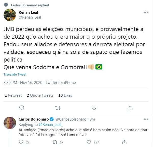 Carlos Bolsonaro rebateu postagem de Renan Leal, irmão do deputado Carlos Jordy