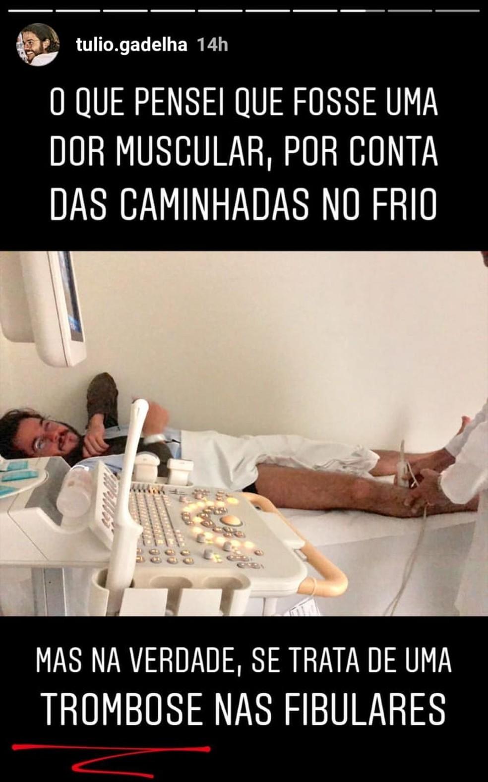 Deputado federal eleito pelo PDT em Pernambuco, Túlio Gadêlha está internado em hospital do Recife — Foto: Reprodução/Instagram