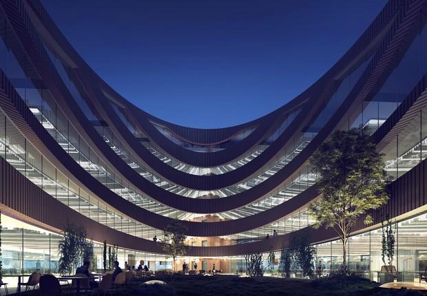 O superávit de energia do prédio vai compensar, inclusive, a energia usada para produzir as matérias-primas usadas na construção (Foto: Divulgação)