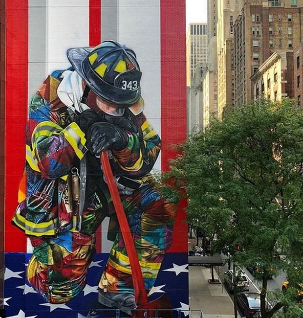 Obra do artista Kobra em Nova York (Foto: Instagram/Reprodução)