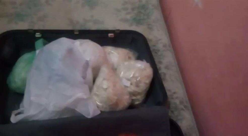 Droga estava dentro de mala na casa de uma das mulheres — Foto: Divulgação/DISE