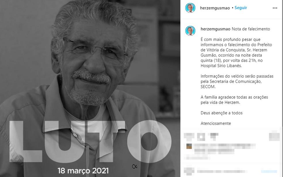 Prefeito de Vitória da Conquista, Herzem Gusmão, morre aos 72 anos por complicações da Covid-19 — Foto: Reprodução/Redes Sociais