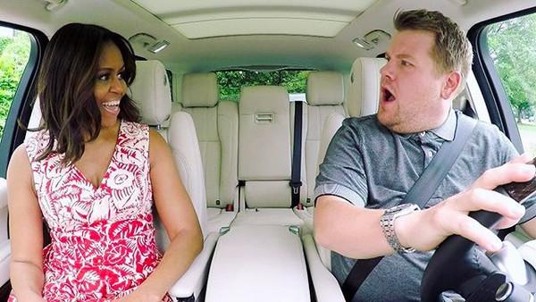 O ator e apresentador James Corden em uma edição do quadro Carpool Karaoke com Michelle Obama (Foto: Instagram)