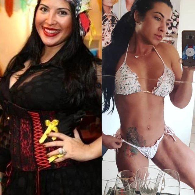 Antes de depois de Priscila Pires perder 35 kg (Foto: Reprodução/Instagram)
