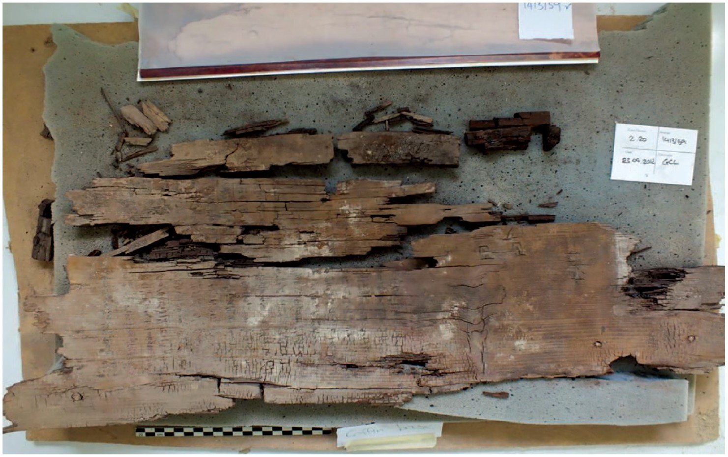 Livro egípcio de 4 mil anos que 'guiava almas ao submundo' é encontrado. Registro foi feito em tábua de cedro (Foto: Harco Willems/Journal of Egyptian Archaeology)