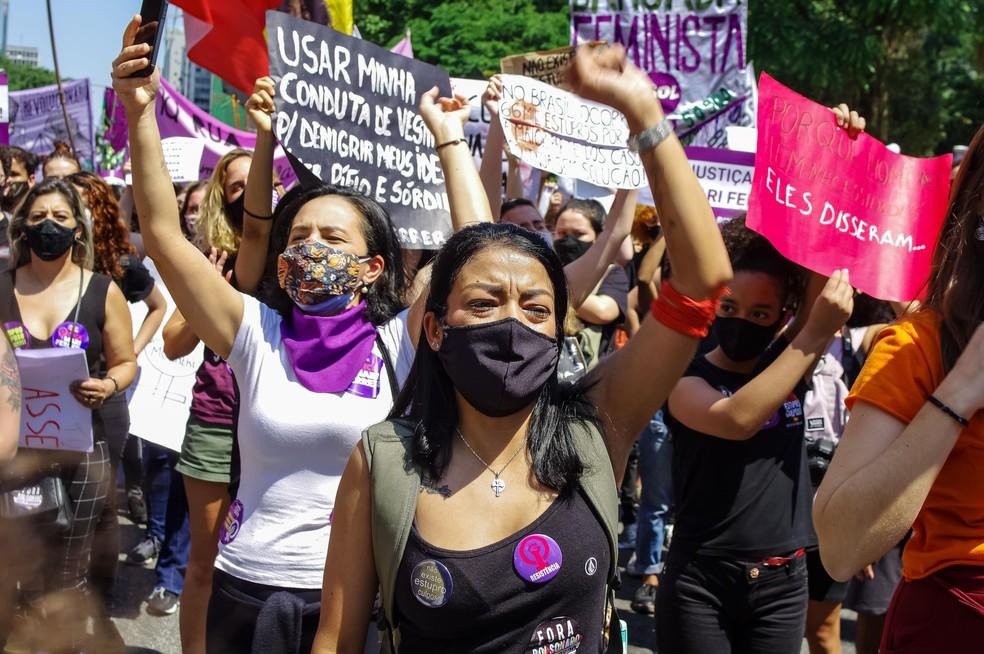 Ato'Justiça por Mari Ferrer' realizado na Avenida Paulista, em São Paulo (SP), neste domingo (8). — Foto: Estadão Conteúdo.