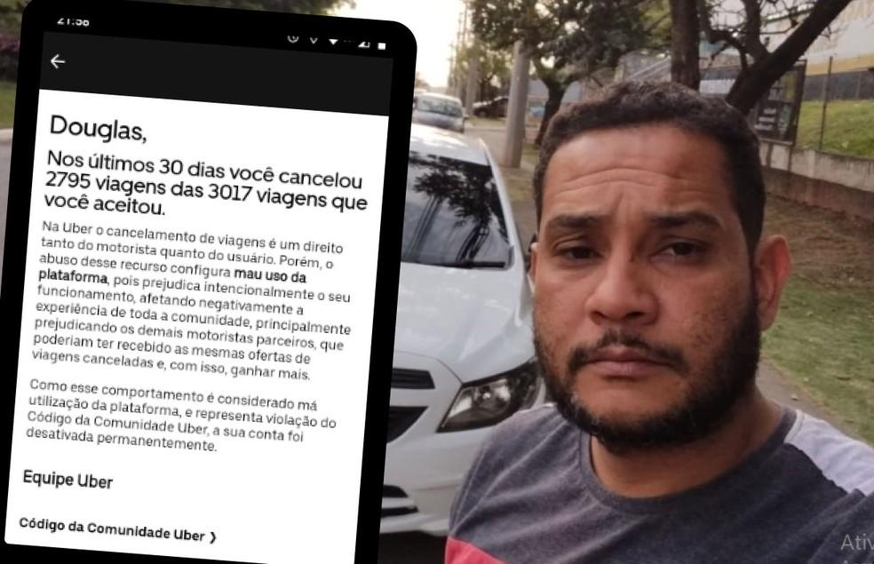 Douglas Santana, de 36 anos, foi excluído da plataforma nesta semana — Foto: Arte/g1/Arquivo pessoal