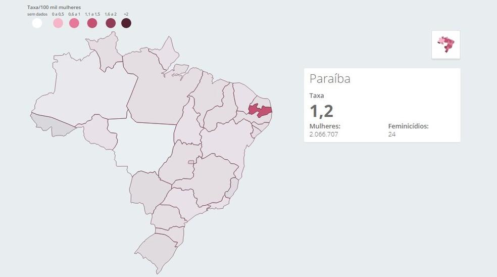 Mapa mostra taxas de mortes de mulheres em razão do gênero na Paraíba, em 2018' — Foto: Arte/G1