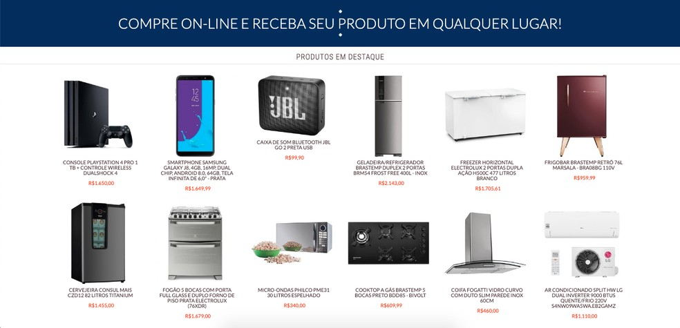 Produtos vendidos pela Motoel — Foto: Reprodução/TechTudo