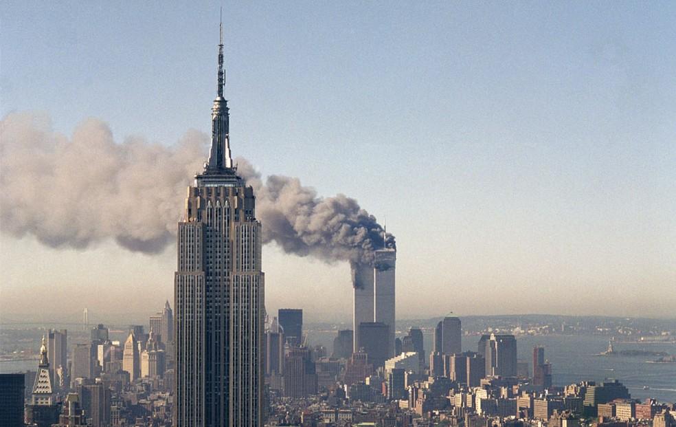 Ataque terrorista às Torres Gêmeas completará 20 anos em 11 setembro de 2021 — Foto: Marty Lederhandler/AP