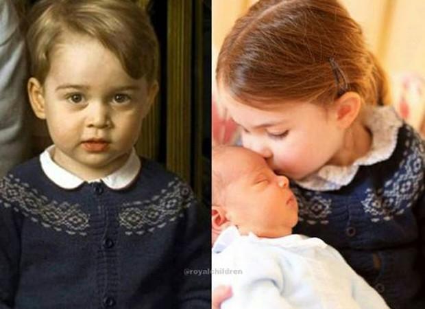 George e Charlotte usam o mesmo casaquinho azul (Foto: Reprodução/Instagram)