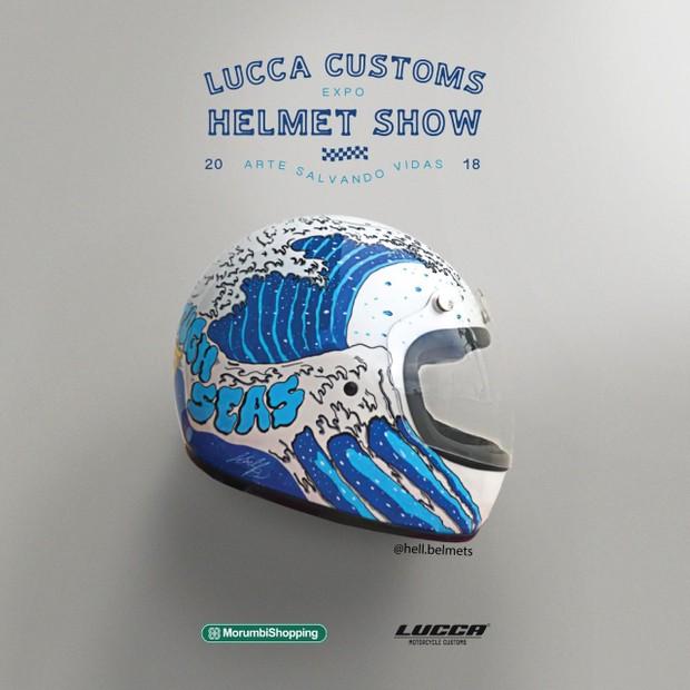 Capacetes leiloados na Lucca Customs (Foto: reprodução)