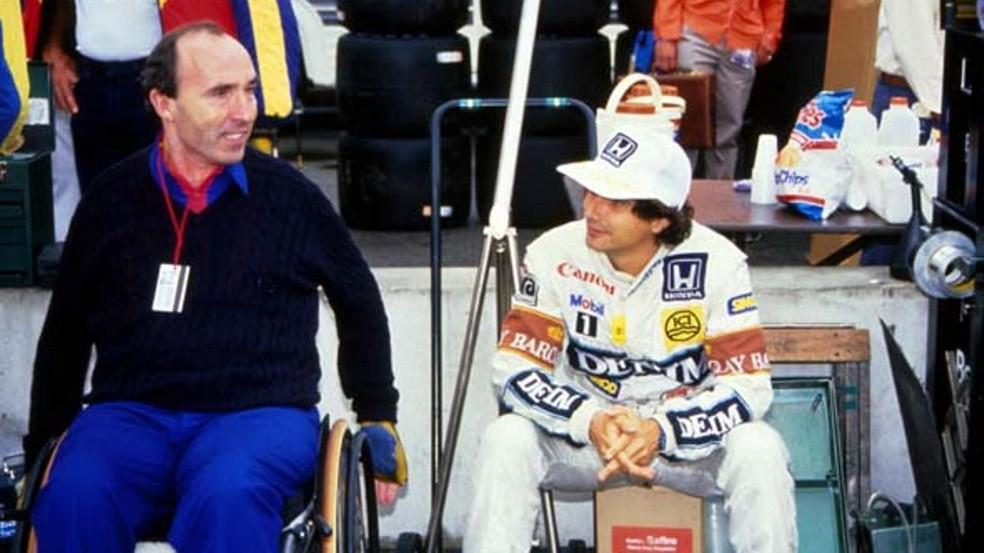Frank Williams ao lado de Nelson Piquet em 1987 — Foto: Reprodução