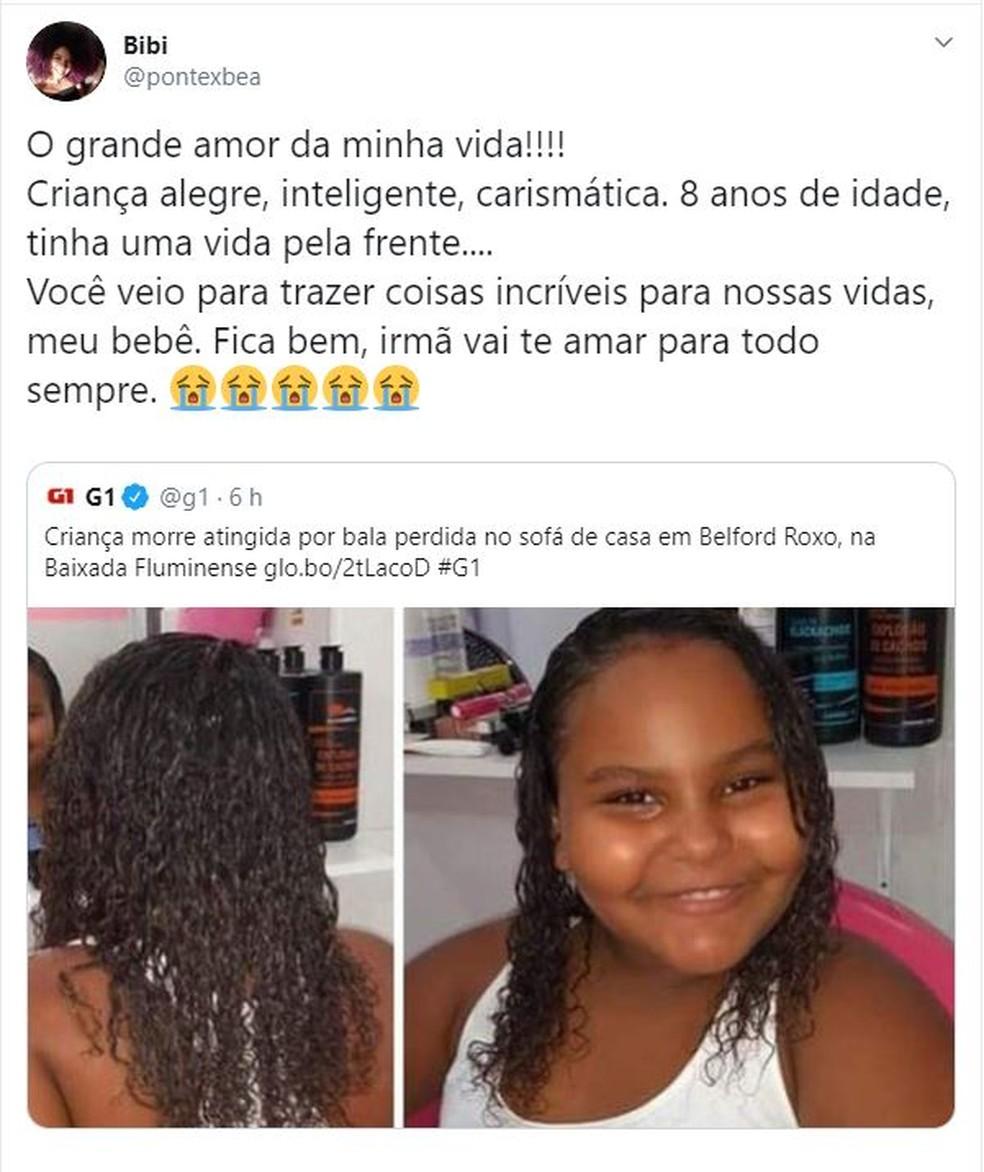 Irmã de menina que morreu ao ser atingida por bala perdida publica desabafo — Foto: Reprodução Redes Sociais