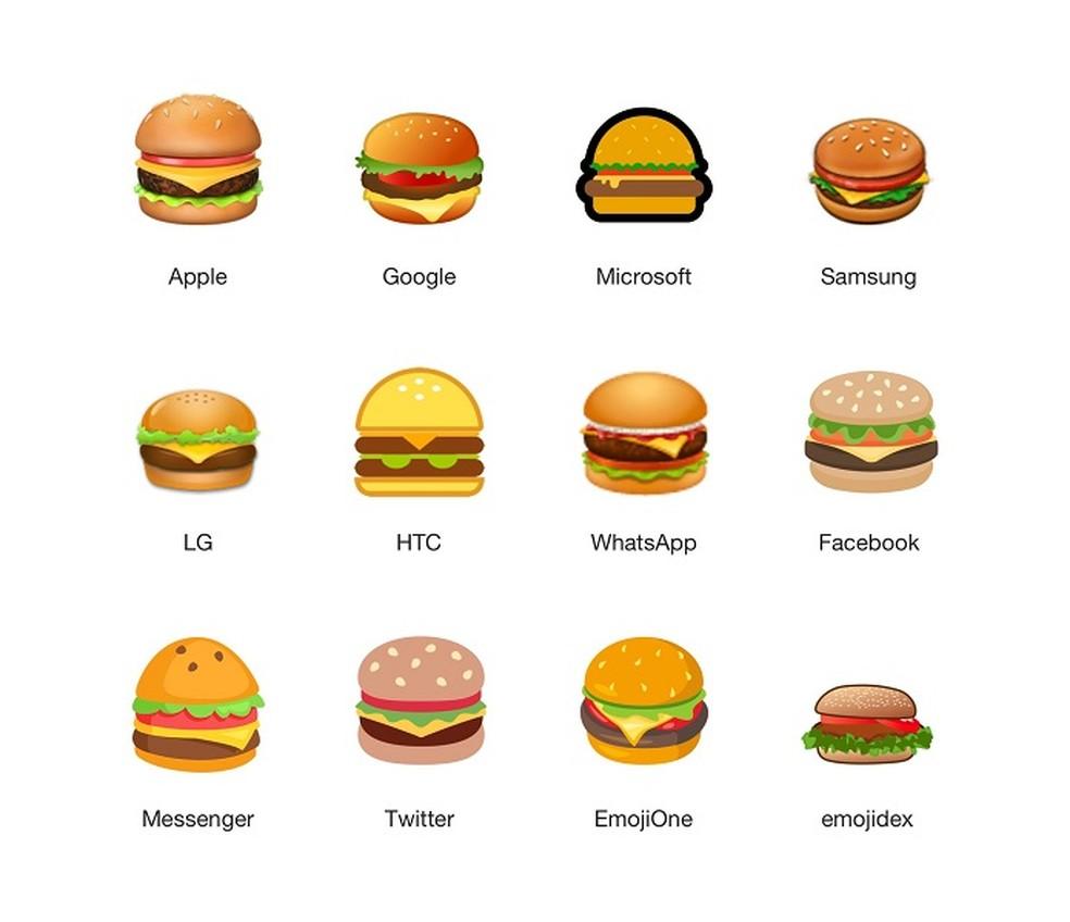 Comparação entre os emojis de hambúrguer (Foto: Divulgação/Emojipedia) (Foto: Emojipedia)
