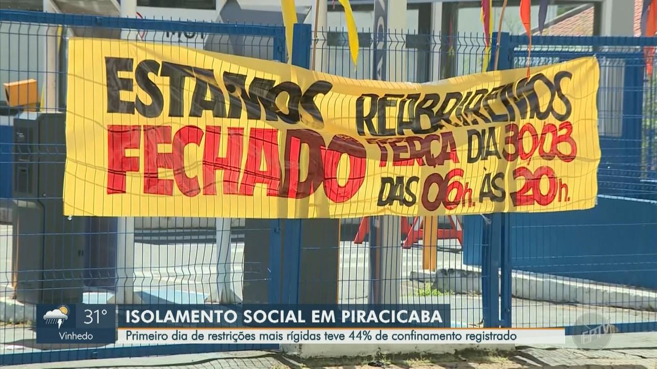 Índice de isolamento cresce no 1º fim de semana de regras mais restritivas em Piracicaba