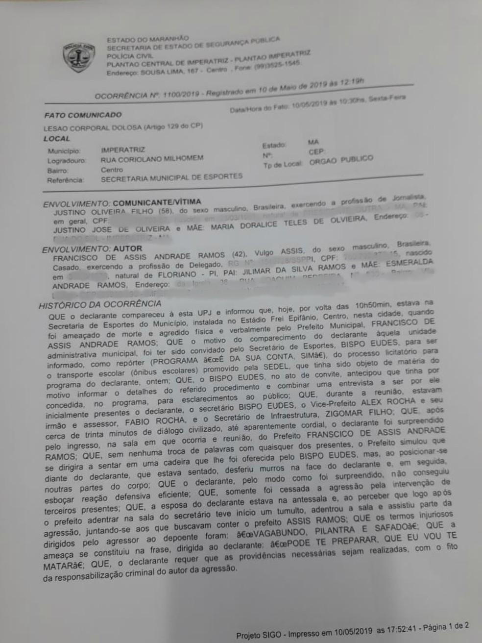Boletim de Ocorrência registrado na Polícia Civil sobre a agressão do prefeito Assis Ramos contra o jornalista Justino Filho — Foto: Polícia Civil