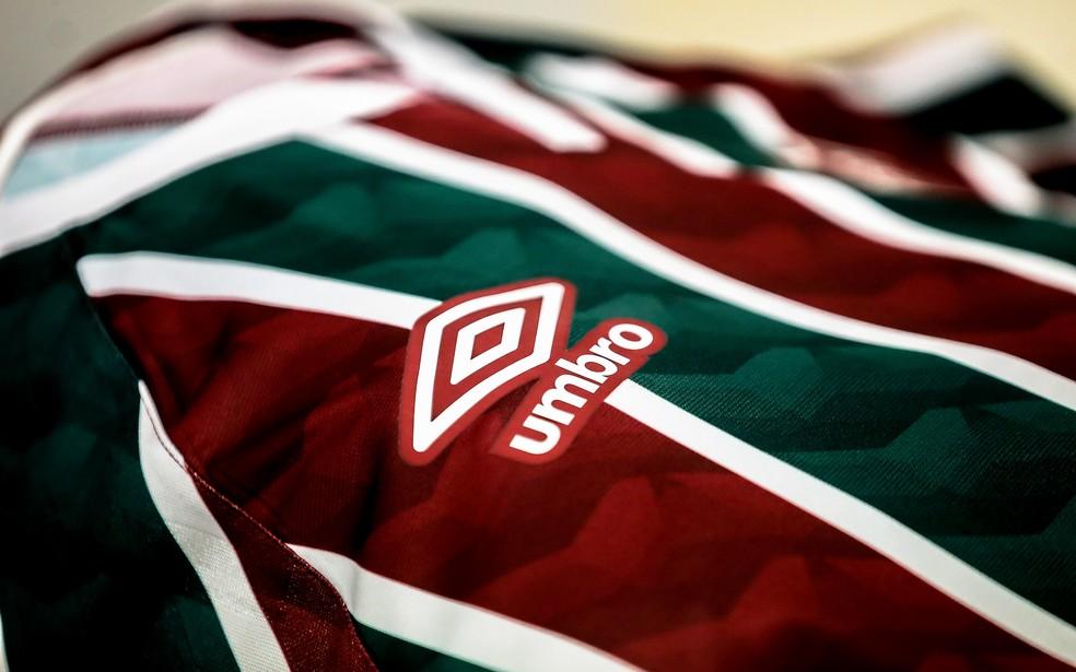 Uniforme de 2020 do Fluminense, o primeiro da Umbro — Foto: Lucas Merçon FFC