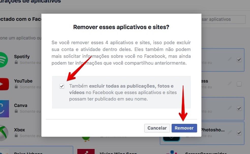 Removendo acesso dos apps selecionados (Foto: Reprodução/Helito Bijora)