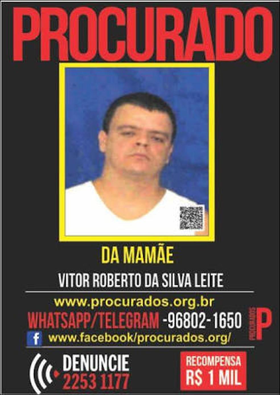 Vitor Roberto da Silva Leite, o Da Mamãe, foi morto em tiroteio (Foto: Divulgação/Portal dos Procurados)