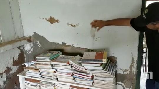 Escolas em MS têm parede esfarelando e goteira em refeitório; veja vídeo