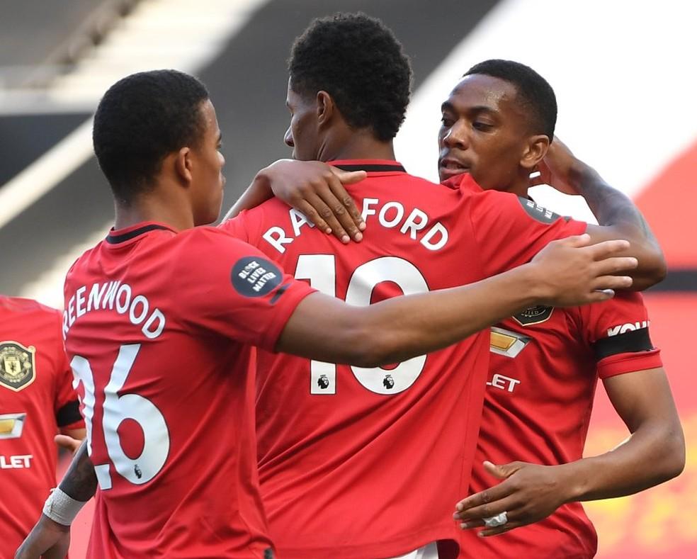 Greenwoof, Rashford e Martial: trio de ataque do Manchester United balançou as redes contra o Bournemouth — Foto: Getty Images