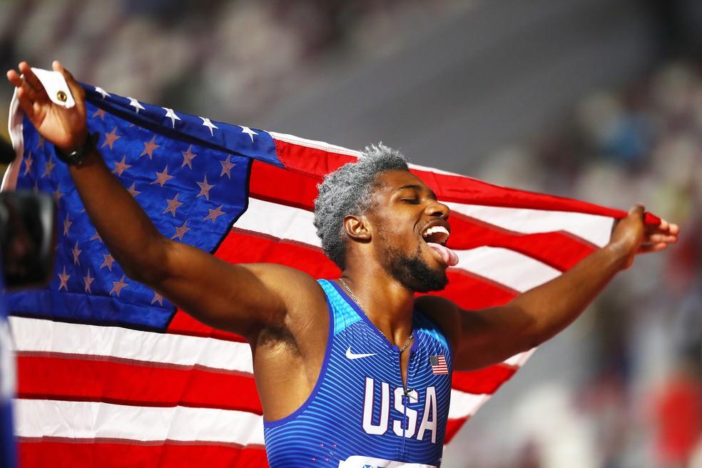 Noah Lyles é o novo campeão mundial dos 200m — Foto: Michael Steele/Getty Images