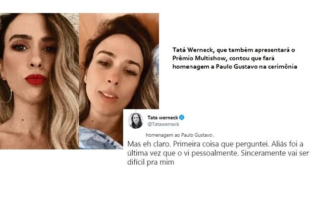 Tatá revelou que fará homenagem ao amigo Paulo Gustavo em outra atração do Multishow: o prêmio que apresentará com Iza (Foto: Reprodução/Twitter)