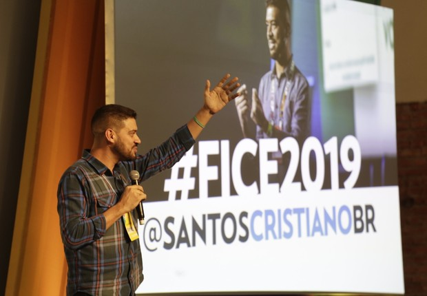 Cristiano Santos, consultor de marketing digital, no FICE 2019 (Foto: Gabriela Di Bella)