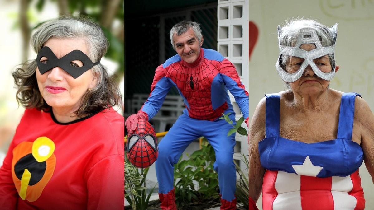 Idosos se vestem de super-heróis para campanha de abrigo na Paraíba