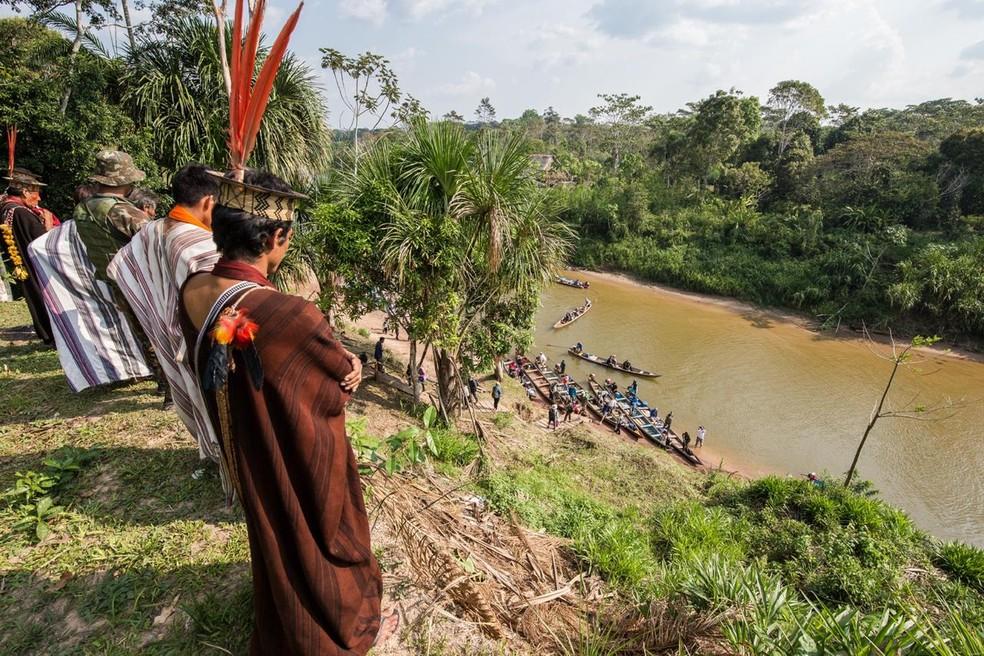Indígenas se mantém isolados desde março em comunidade para evitar contaminação pela Covid-19 — Foto: Arison Jardim/Associação Apiwtxa