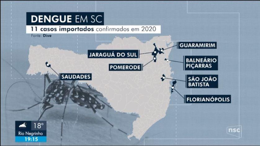 SC tem 11 casos confirmados de dengue em 2020