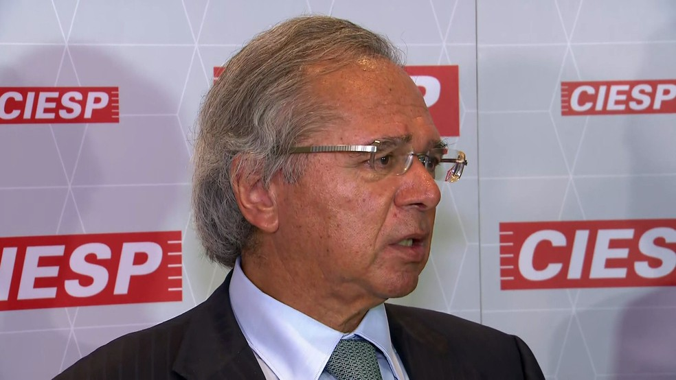 Paulo Guedes participa de evento na Fiesp — Foto: Reprodução/GloboNews