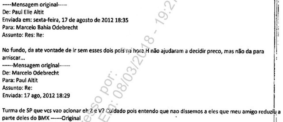 Trecho de e-mail entregue por Marcelo Odebrecht à PGR (Foto: Reprodução)