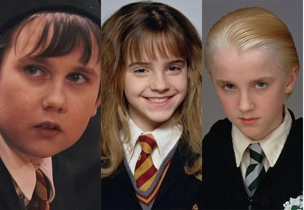 Matthew Lewis, Emma Watson e Tom Felton no início da saga Harry Potter (Foto: Divulgação)