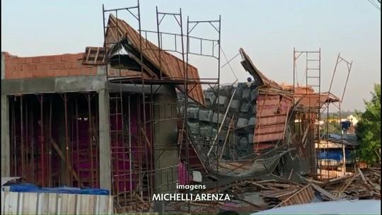 Laje de obra desaba e fere pelo menos seis trabalhadores, em Marmeleiro