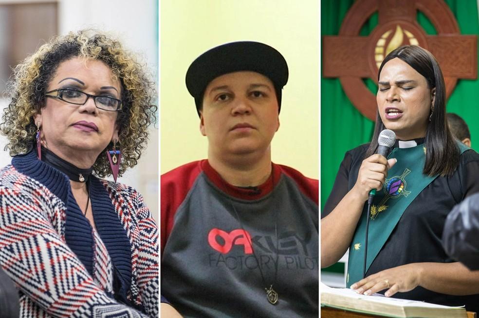 Da esquerda para a direita: Jacqueline Chanel, Henrique Júnior e Alexya Salvador. Transgêneros ouvidos pelo G1 contam como conseguiram conciliar fé cristã e natureza trans (Foto: Fábio Tito/G1)