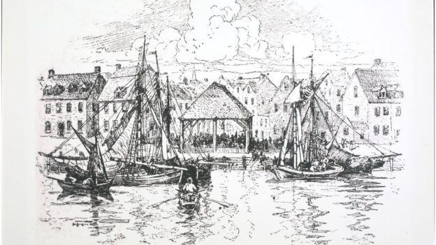 BBC - Mercado de escravos em Nova York, 1730 (Foto: Getty Images via BBC News)