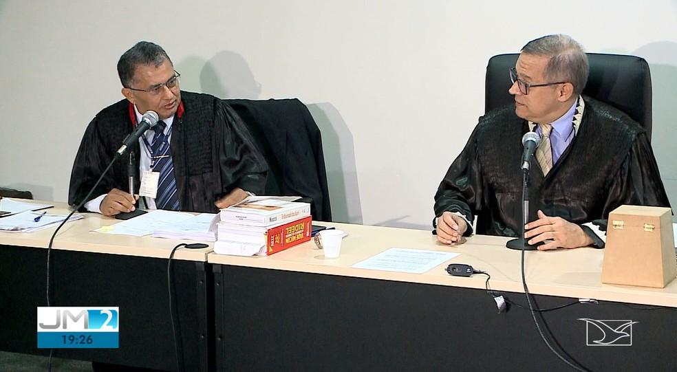 Julgamento aconteceu no 4º Tribunal do Júri e a imprensa não pôde fazer imagens dos réus — Foto: Reprodução/TV Mirante