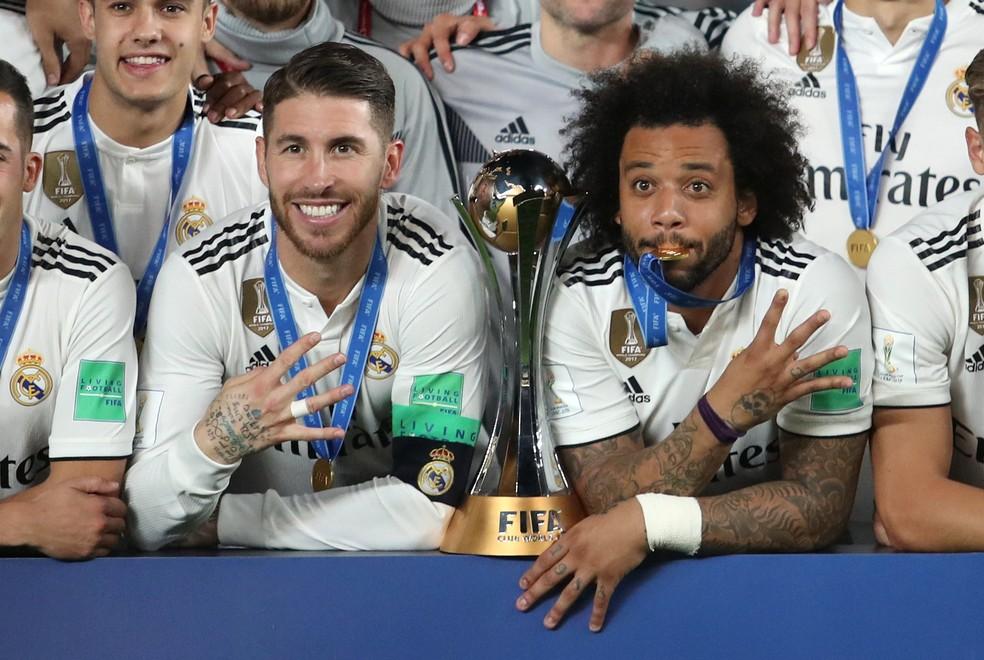Marcelo e Sergio Ramos conquistaram 20 títulos pelo Real Madrid — Foto   Suhaib Salem  614bc6e5851e6