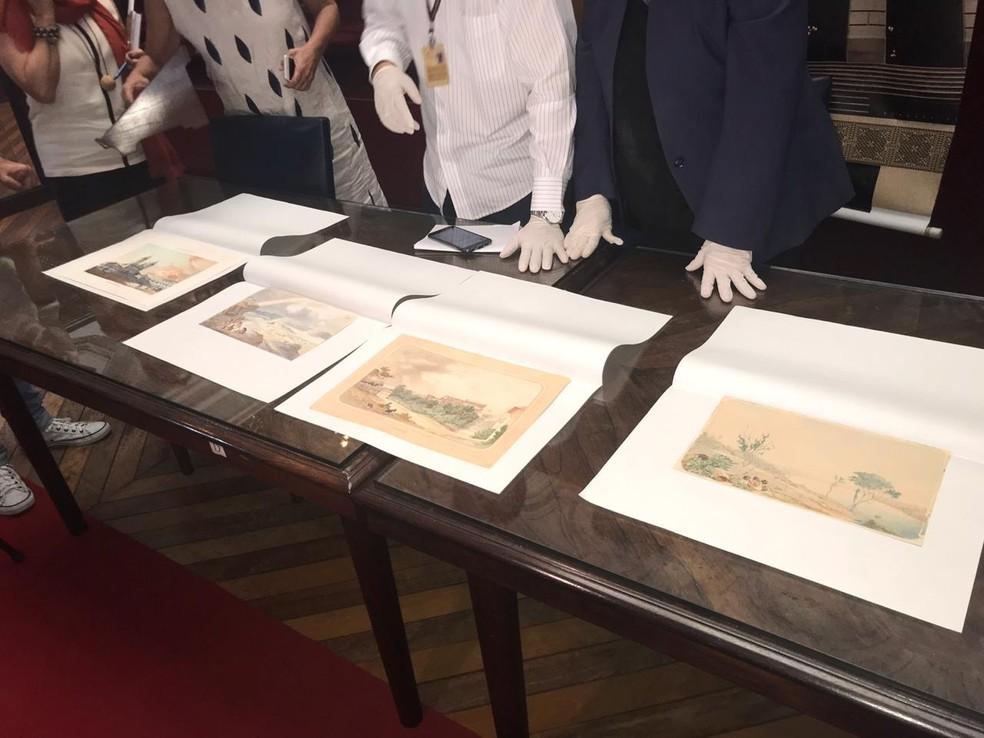 Quatro obras foram devolvidas à Biblioteca Nacional, no Rio de Janeiro — Foto: Henrique Coelho/ G1