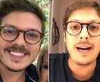 À direita, Fabio Porchat no programa 'Mais você' em janeiro; à esquerda, em live da quarentena | Reprodução