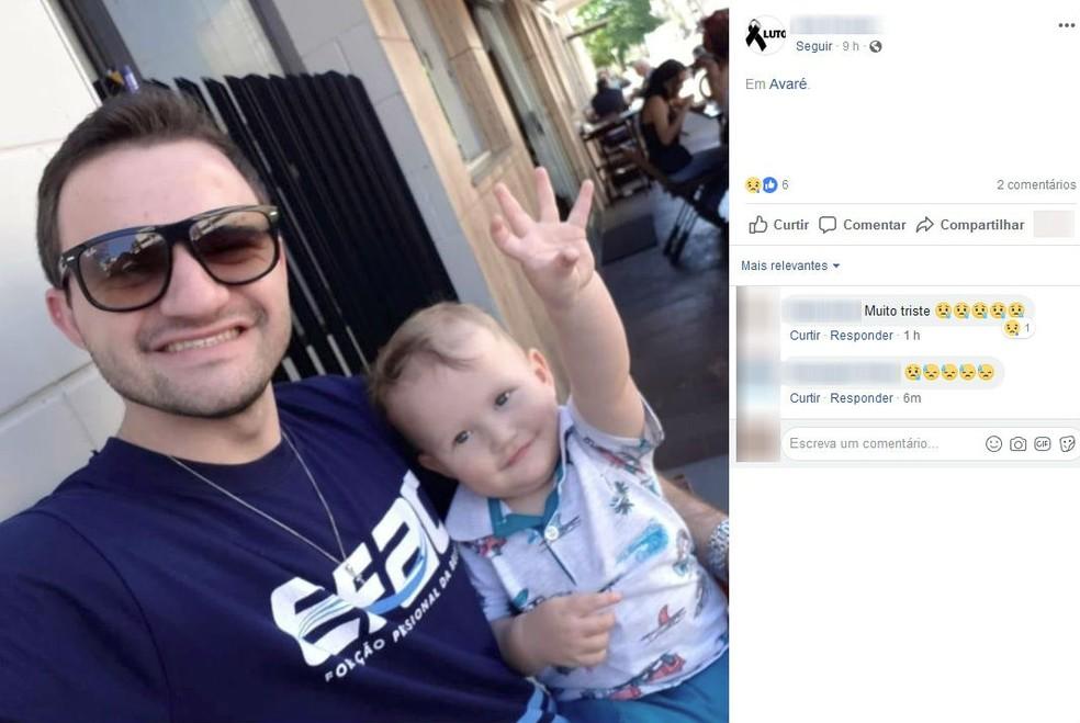 Gustavo Vilche e o filho, de um ano e quatro meses, não resistiram aos ferimentos e morreram  â?? Foto: Reprodução/Facebook