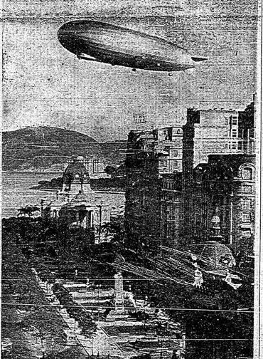 Foto que estampou a capa do GLOBO mostra dirigível sobrevoando o Centro do Rio