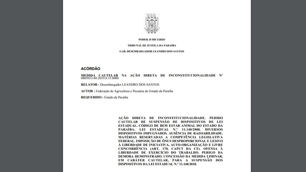 Acórdão foi publicado no dia 5 de junho pelo Tribunal de Justiça da Paraíba — Foto: Reprodução