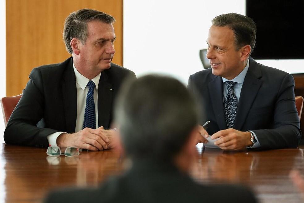 O presidente Jair Bolsonaro e o governador de SP, João Doria, em imagem de arquivo — Foto: Divulgação/governo de São Paulo